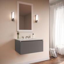 """View Product - Curated Cartesian 24"""" X 15"""" X 21"""" Single Drawer Vanity In Matte Gray Glass With Slow-close Plumbing Drawer and Engineered Stone 25"""" Vanity Top In Quartz White (silestone White Storm)"""