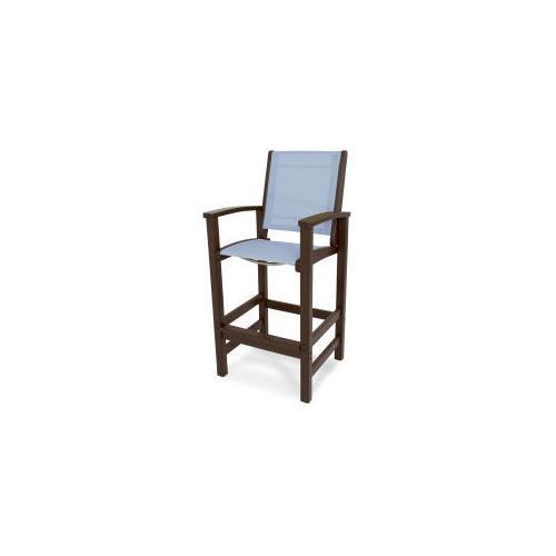 Polywood Furnishings - Coastal Bar Chair in Mahogany / Poolside Sling