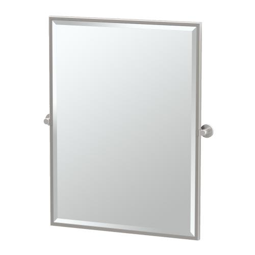 Channel Framed Rectangle Mirror in Satin Nickel