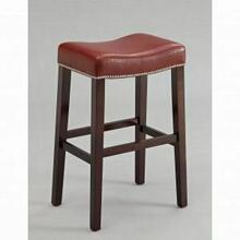 """ACME Lewis Counter Height Stool (Set-2) - 96295 - Red PU & Espresso - 26"""" Seat Height"""