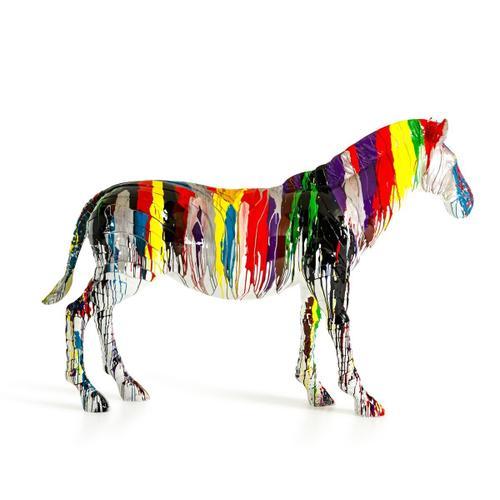 Gallery - Modrest Large Rainbow Zebra Sculpture