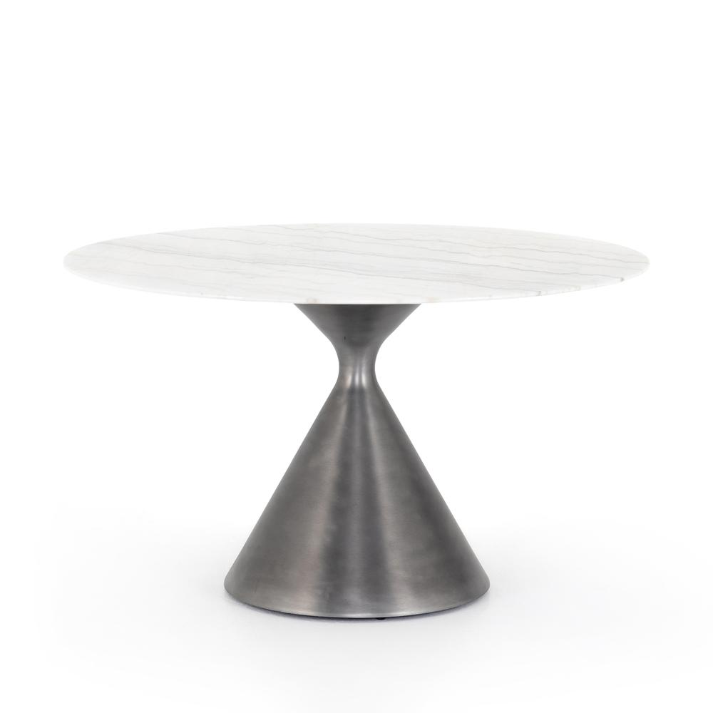 See Details - White Marble Finish Peoria Dining Table