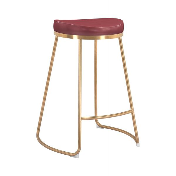 See Details - Bree Counter Stool Burgundy & Gold