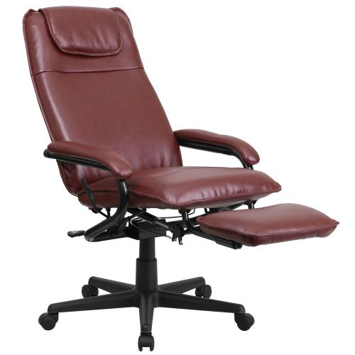 Alamont Furniture - High Back Burgundy Leather Executive Reclining Swivel Chair with Arms