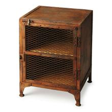 See Details - This unique industrial chairside chest could have come right out of an iron works factory. Made from cast iron with a rust brown finish, it has two display shelves concealed by a wire, mesh door.