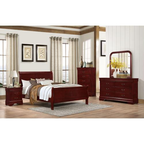 4937 Classic Cherry Sleigh QUEEN BED COMPLETE (HB, FB, Rails & Slats)