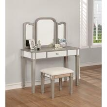Contemporary Metallic Platinum Vanity Set