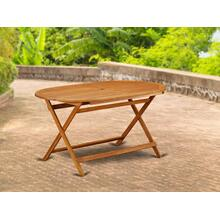 Oval Foldable Patio Acacia solid wood Dining Table - Natural Oil Finish