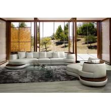 See Details - Divani Casa Rodus - Modern White Leather Curved Sectional Sofa with Wood Trim