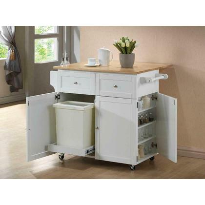 See Details - Transitional Natural Brown and White Kitchen Cart
