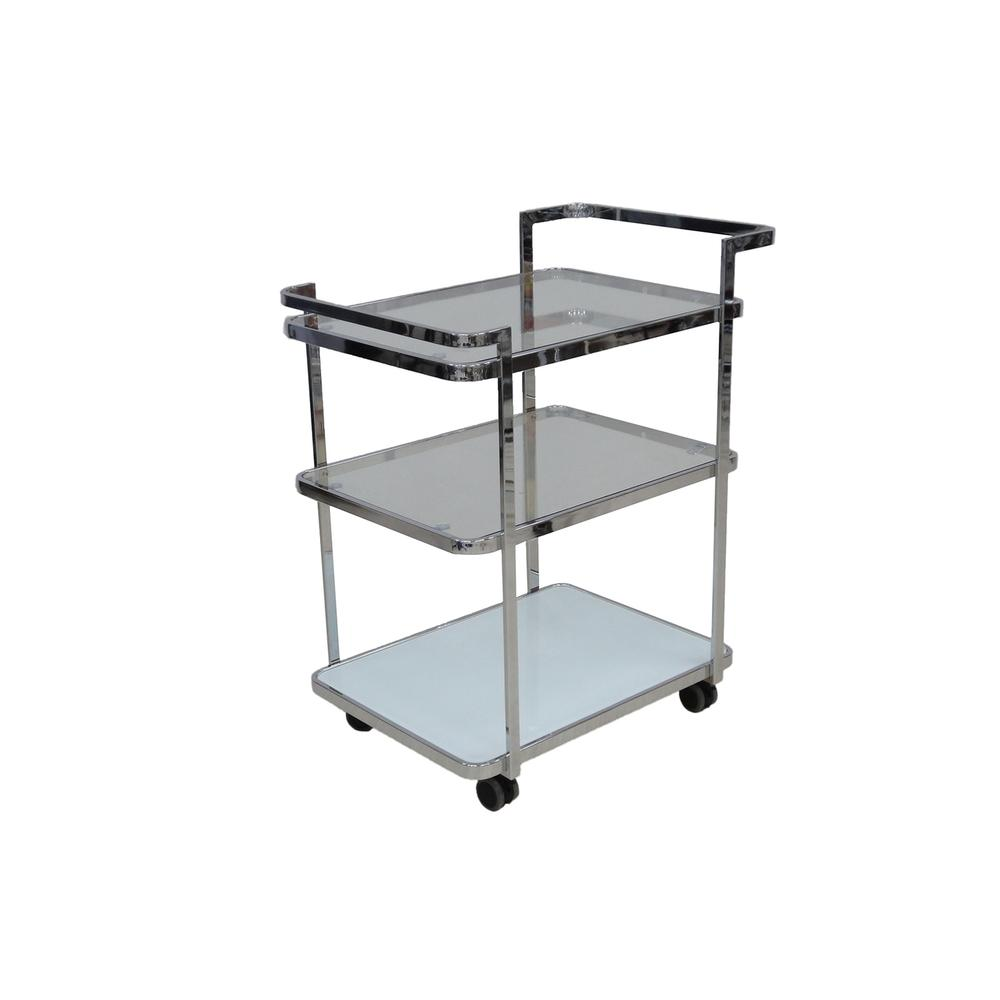 The Ferrara Bar Cart In White And Clear Glass With Chrome Plated Frame