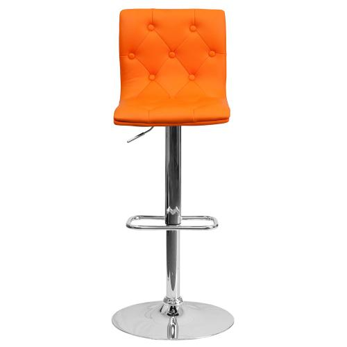 Contemporary Tufted Orange Vinyl Adjustable Height Barstool with Chrome Base