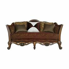 ACME Beredei Loveseat w/5 Pillows - 50666 - Fabric & Antique Oak