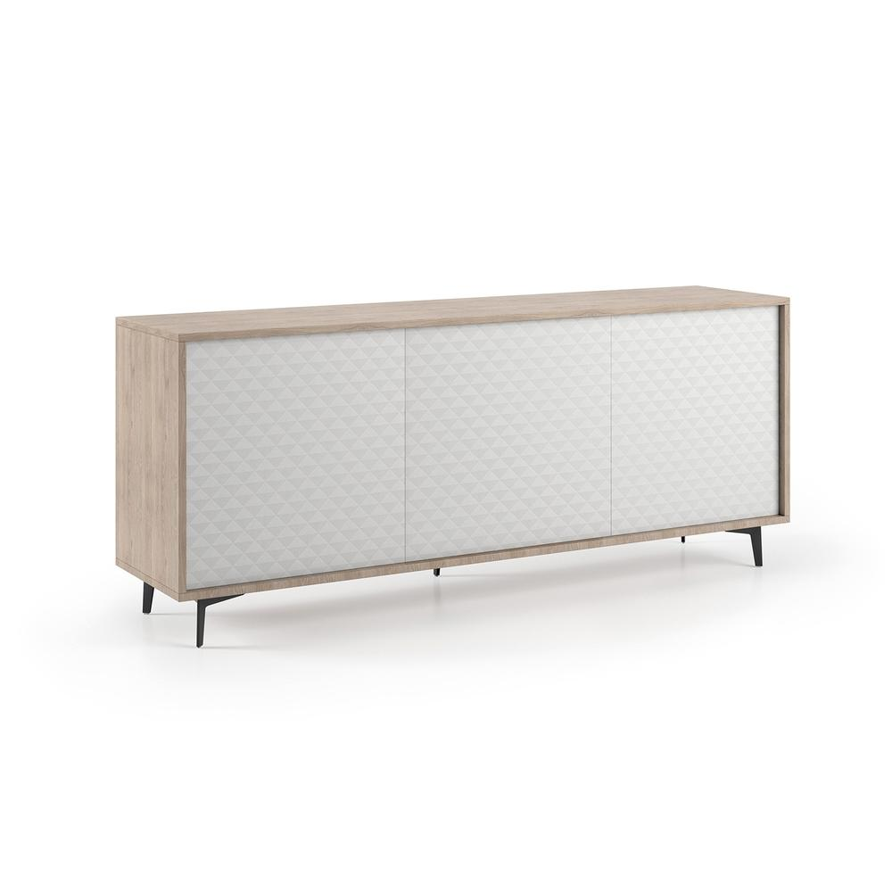 The Lenox Buffet-server Part Of Our Kd Collection In Light Oak Melamine Frame With White Pattern Melamine Doors