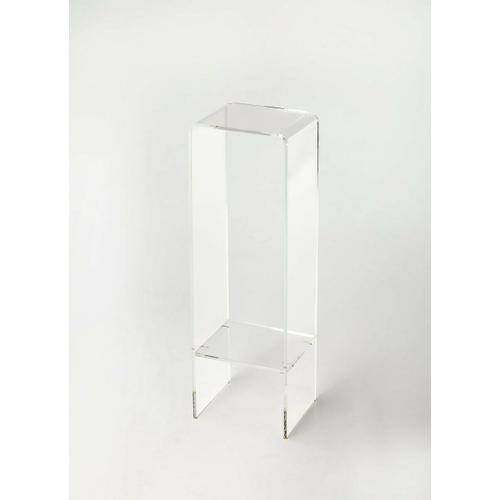 With a minimalist modern design this elegant plant stand will enhance any space. Crafted from clear acrylic, it features a dual waterfall edge with a bottom display shelf.