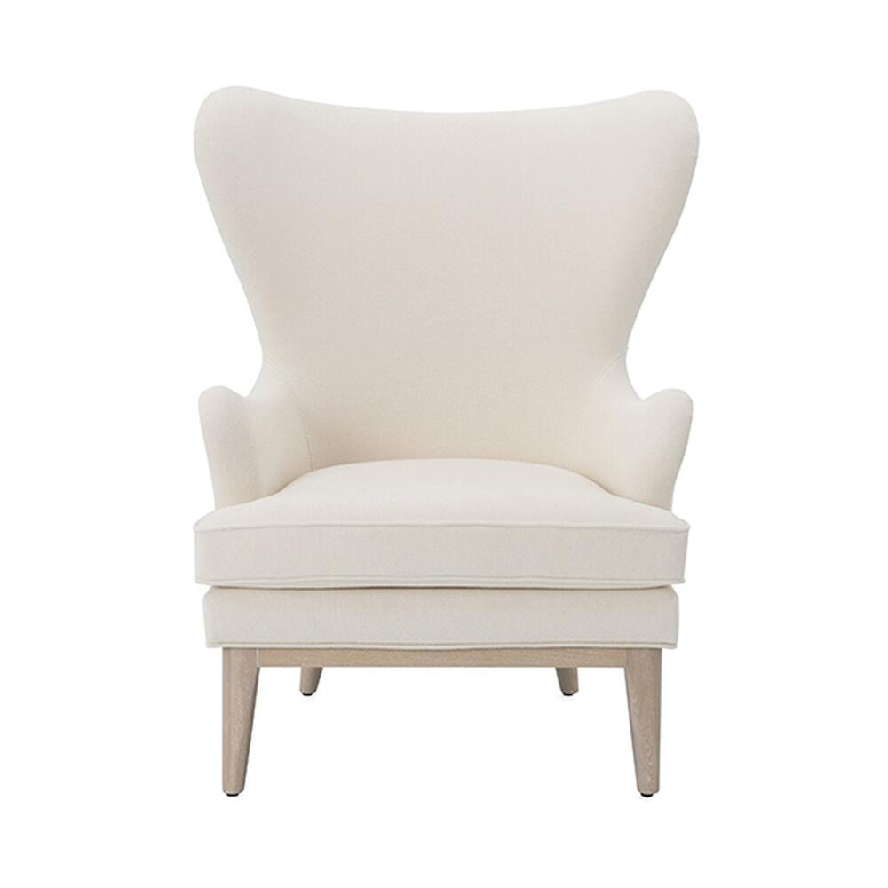Modern Wing Chair With Cerused Oak Feet In Ivory Plain Weave Upholstery