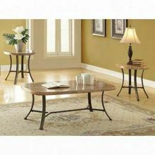 ACME Val 3Pc Pack Coffee/End Table Set - 80250 - White Faux Marble