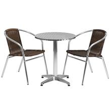 23.5'' Round Aluminum Indoor-Outdoor Table Set with 2 Dark Brown Rattan Chairs