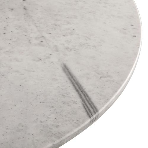 """Palm Springs 48"""" Round Dining Table White Marble, Decorative Base"""