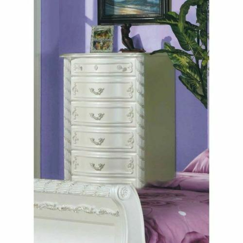 ACME Pearl Chest - 01016 - Pearl White & Gold Brush Accent