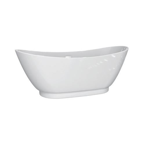 "Normandy 70"" Acrylic Double Slipper Tub with Integrated Drain and Overflow - White Powder Coat Drain and Overflow"