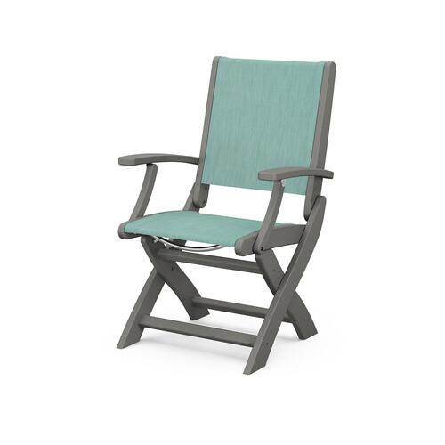 Polywood Furnishings - Coastal Folding Chair in Slate Grey / Aquamarine Sling