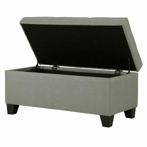 Worldwide Homefurnishings - Sarah Rectangular Storage Ottoman in Light Grey