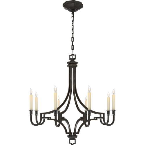 Visual Comfort - E. F. Chapman Mykonos 8 Light 28 inch Aged Iron Chandelier Ceiling Light