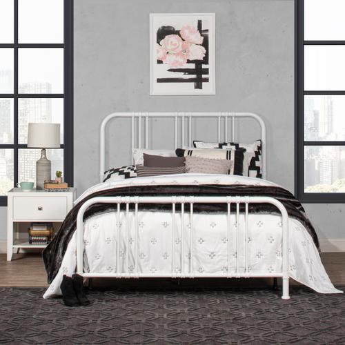 Dakota Full Size Bed With Metal Frame, White