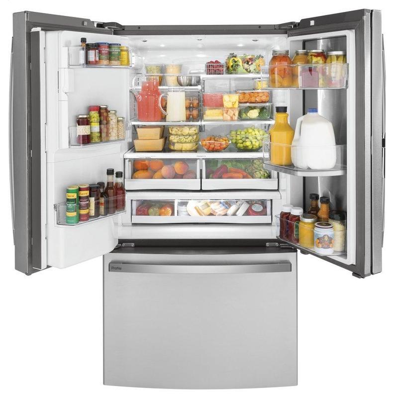 GE Profile™ Series 22.1 Cu. Ft. Counter-Depth Fingerprint Resistant French-Door Refrigerator with Door In Door and Hands-Free AutoFill