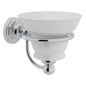 Polished Chrome Perrin & Rowe Edwardian Wall Mount Porcelain Soap Dish Product Image