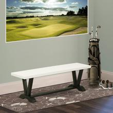 15x60 in Dining Bench with Wirebrushed Black Leg and Linen White Top finish