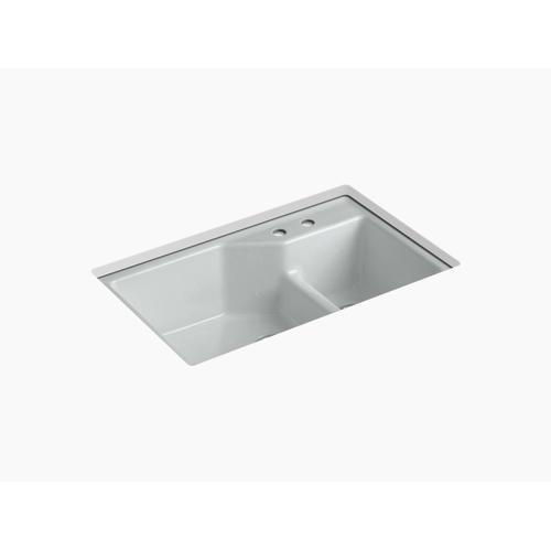 """Ice Grey 33"""" X 21-1/8"""" X 9-3/4"""" Smart Divide Undermount Large/small Double-bowl Workstation Kitchen Sink With 2 Faucet Holes"""