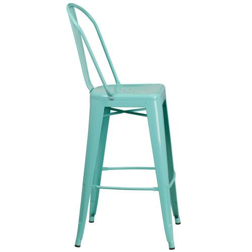 30'' High Mint Green Metal Indoor-Outdoor Barstool with Back