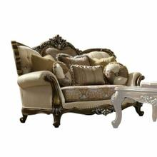 ACME Latisha Loveseat w/5 Pillows - 52116 - Tan - Pattern Fabric & Antique Oak