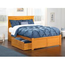 Nantucket King Flat Panel Foot Board with 2 Urban Bed Drawers Caramel Latte