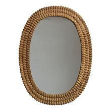 Product Image - Embossed Metal Framed Wall Mirror, Antique Brass Finish (Hangs Vertically & Horizontally)