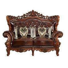 ACME Eustoma Loveseat w/2 Pillows - 53066 - Cherry Top Grain Leather Match & Walnut