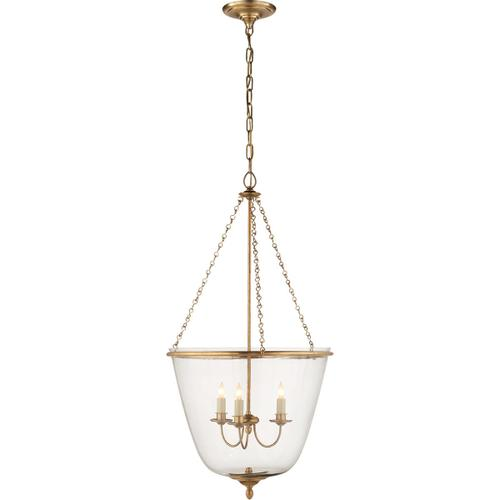 AERIN Pondview 3 Light 20 inch Hand-Rubbed Antique Brass Jar Lantern Ceiling Light, Medium