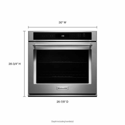 """KitchenAid - 30"""" Single Wall Oven with Even-Heat™ Thermal Bake/Broil - Stainless Steel"""