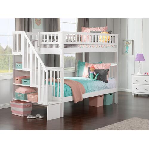 Woodland Staircase Bunk Bed Twin over Twin in White