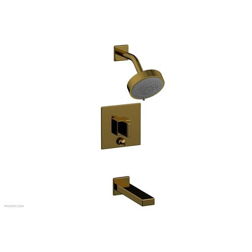 MIX Pressure Balance Tub and Shower Set - Blade Handle 290-26 - French Brass