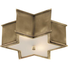View Product - Alexa Hampton Sophia 2 Light 14 inch Natural Brass Flush Mount Ceiling Light