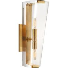 View Product - AERIN Alpine 2 Light 5 inch Hand-Rubbed Antique Brass Single Sconce Wall Light in Clear Glass