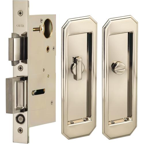 Product Image - Pocket Door Lock with Traditional Trim featuring Turnpiece and Emergency Release in (US14 Polished Nickel Plated, Lacquered)