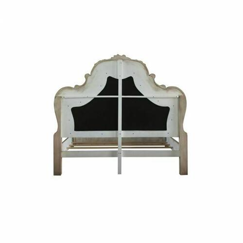 ACME Dresden Queen Bed - 28170Q - Traditional, Vintage - PU, Wood (Poplar), MDF, Poly-Resin - Vintage Bone White and PU