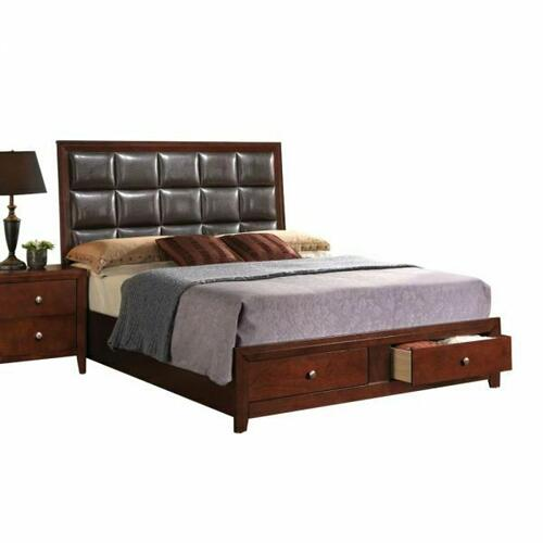 ACME Ilana Queen Bed w/Storage - 24590Q - Brown PU & Brown Cherry -
