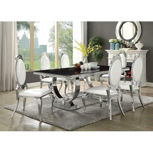 Coaster - Antoine Hollywood Glam Silver Dining Table