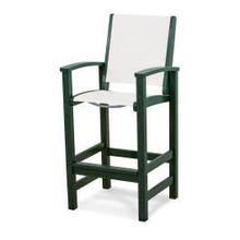 View Product - Coastal Bar Chair in Green / White Sling
