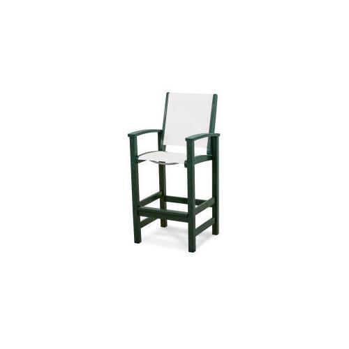 Polywood Furnishings - Coastal Bar Chair in Green / White Sling